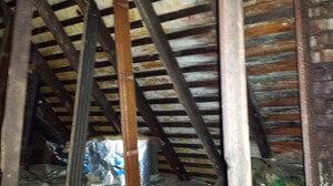 Water Damage Restoration Attic Joists Repairs In Progress